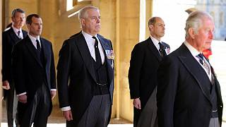 Britain's Prince Andrew, Duke of York, attends the ceremonial funeral procession of Britain's Prince Philip, Duke of Edinburgh, on April 17, 2021.