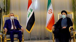 رئيس الوزراء العراقي مصطفى الكاظمي بصحبه رئيسي في طهران