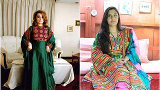 Afgan kadınlar geleneksel kıyafetleriyle çektirdikleri fotoğraflarını sosyal medya platformlarında yayınlayarak, Taliban destekli kadınlara tepki gösterdi