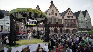 Annalena Baerbock, a német Zöldek társelnöke és kancellárjelöltje egy kampányrendezvényen 2021. szeptember 8-án