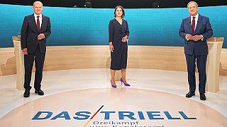 Scholz, Baerbock und Laschet vor der TV-Debatte