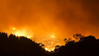 A picture taken from the village of Cartajima shows a wildfire, that broke out three days ago, burning in Sierra Bermeja mountain range on September 12, 2021.
