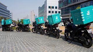 عامل توصيل طعام في دبي. 2021/09/09