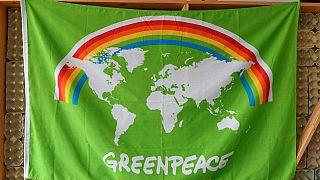 Drapeau de Greenpeace à l'entrée des bureaux de l'ONG à Amsterdam (Pays-Bas), le 10/09/2021