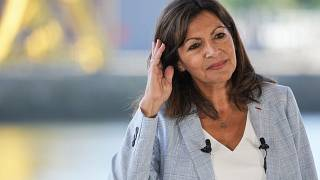 Socialist mayor of Paris Anne Hidalgo as she announced her candidacy for the upcoming presidential election in France next year during a meeting in Rouen, Sept 12, 2021.