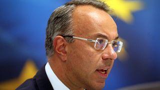 Ο υπουργός Οικονομικών Χρήστος Σταϊκούρας κάνει δηλώσεις στον Τύπο