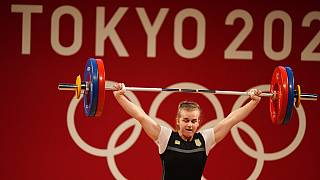 Iryna Dekha of Ukraine competes in the women's 76kg weightlifting event, at the 2020 Summer Olympics, Sunday, Aug. 1, 2021, in Tokyo, Japan.