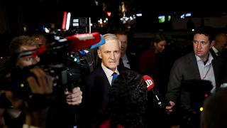 Labor leader Jonas Gahr Store makes his way to the Labor Party's election event in Folkets Hus in Oslo on September 13, 2021