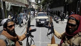 مقاتلو طالبان خلال دورية في العاصمة الافغانية كابل. 2021/08/19