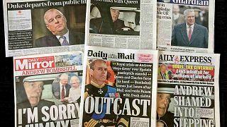 صورة مجمعة للصفحات الأولى من الصحف البريطانية يوم الخميس 21 نوفمبر 2019 تتصدر الفضيحة المحيطة بالأمير البريطاني أندرو