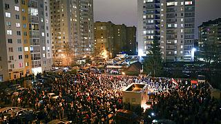 A gathering in Minsk on November 12, 2020 to honour a protester killed during the demonstrations last year.
