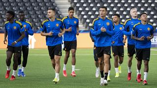Manchester United's Cristiano Ronaldo, second right, attends a training session at the Wankdorf stadium in Bern, Switzerland