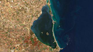El Mar Menor visto por el satélite Sentinel 2 de la red europea Copernicus el 13 de octubre de 2019