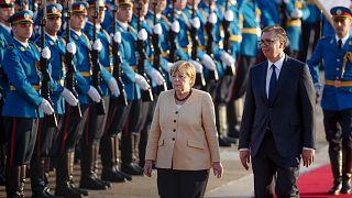 German Chancellor Angela Merkel and Serbia's president Aleksandar Vucic