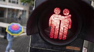 A stencil with a male couple can be seen at a traffic light system in Bielefeld, Germany.