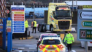 Kuzey İrlanda'nın Larne limanında gümrük görevlileri araçları kontrol ediyor