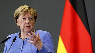 Angela Merkel lors d'une conférence avec Edi Rama à Tirana (Alabanie), le 14 septembre 2021.