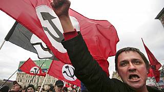Members of the anti-Putin National Bolshevik Party at a rally in downtown Moscow in December 2006