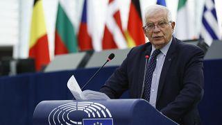 رئيس السياسة الخارجية بالاتحاد الأوروبي جوزيب بوريل في البرلمان الأوروبي في ستراسبورغ بشرق فرنسا.