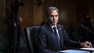 وزير الخارجية أنتوني بلينكن خلال جلسة استماع للجنة العلاقات الخارجية بمجلس الشيوخ الأمريكي الثلاثاء 14 سبتمبر 2021 في مبنى الكابيتول هيل في واشنطن.
