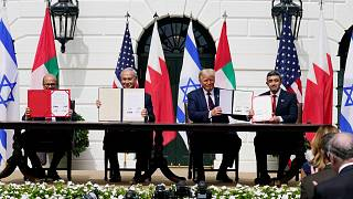 """خلال مراسم توقيع اتفاقات """"أبراهام"""" في الحديقة الجنوبية للبيت الأبيض في واشنطن، 15 سبتمبر 2020"""