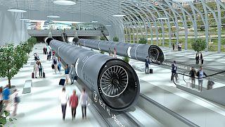 Representación conceptual de una estación de Hyperloop y una cápsula de Hyperloop diseñada por la empresa española Zeleros.