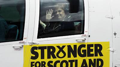Nicola Sturgeon takes off in a Scottish branded helicopter