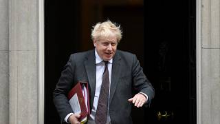 Britain's Prime Minister Boris Johnson leaves 10 Downing Street in central London on September 15, 2021, for the Houses of Parliament.
