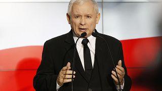 Jaroslaw Kaczynski makes a speech to his party activists in Warsaw.