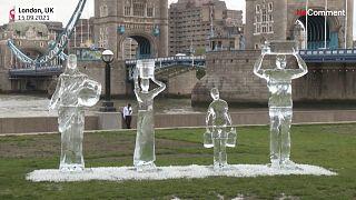 Les sculptures de glace, à Londres.