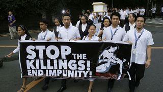 تظاهرات علیه کشتار شهروندان در جریان عملیات پلیس و ارتش فیلیپین