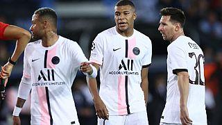 Neymar, Mbappe et Messi, à Brugges, le 15 septembre 2021