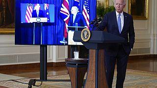 Joe Biden en conférence de presse virtuelle avec les premiers ministres britannique et australien, Washington, 15 septembre 2021