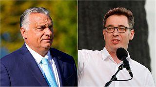 Hungarian PM Viktor Orban, left, and Budapest mayor Gergely Karacsony