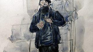 Dessin du principal accusé du procès des attentats du 13 novembre, Salah Abdeslam, 15 septembre 2021