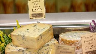 English Blue stilton cheese is seen on sale in the UK, January 15, 2021.