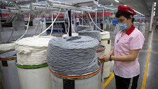 یک کارخانه تولید نخ در سین کیانگ چین، محل «کار اجباری» اقلیت اویغور