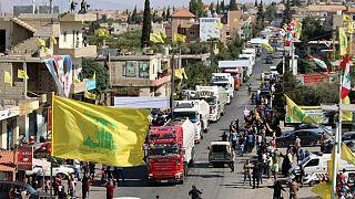ناقلات محملة بالوقود الإيراني تصل إلى مدينة العين في الهرمل شرق سهل البقاع اللبناني-  16 أيلول 2021