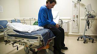 Ryan Ciccozzi tüdőrákos beteg vár műtétjére a Pennsylvania EGyetemi Kórházban Philadelphiában