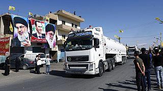 Des camions transportant du carburant iranien entrent au Liban, via la Syrie, dans la ville d'El Ain, Liban.