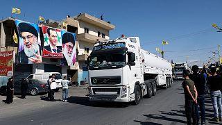استقبال هواداران حزبالله از ورود سوخت ایران از سوریه به لبنان