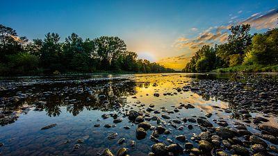 Mura River at sunset