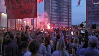 Protesters gathered near parliament in Ljubljana on Wednesday.