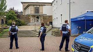 Polizei vor dem jüdische Gemeindehaus in Hagen, 16.09.2021