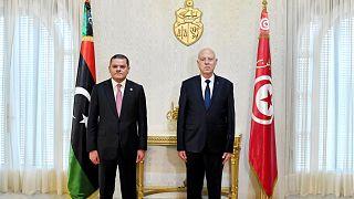 الرئيس التونسي قيس سعّيد ورئيس الوزراء الليبي عبد الحميد الدبيبة