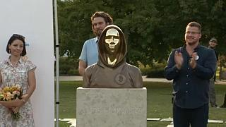 Sculpture of bitcoin founder in Budapest