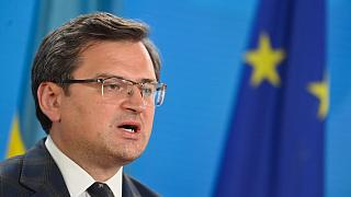 Ukraine's Foreign Minister Dmytro Kuleba speaks during a press conference in Berlin in June.