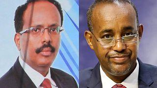 Somali Cumhurbaşkanı Muhammed Abdullah Fermacu (sol), Başbakan Muhammed Hüseyin Roble