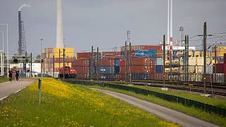 Shipping containers at a terminal in the port of Rotterdam.