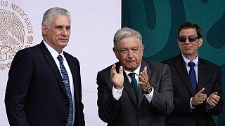 Miguel Díaz-Canel ao lado de Andrés Manuel López Obrador